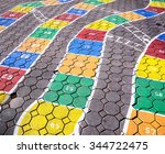 hopscotch game on pavement in... | Shutterstock . vector #344722475