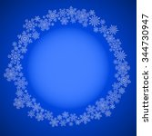 blue christmas frame with drawn ... | Shutterstock . vector #344730947