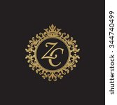 zc initial luxury ornament... | Shutterstock .eps vector #344740499