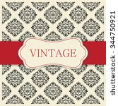 vintage invitation card with... | Shutterstock .eps vector #344750921
