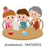family kids grandmother  tablet ... | Shutterstock . vector #344765051