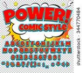 comic alphabet set. blue and... | Shutterstock .eps vector #344770484