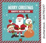 vintage christmas poster design ...   Shutterstock .eps vector #344790197