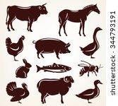 farm animals silhouette... | Shutterstock .eps vector #344793191