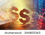 dollar in world finance system. ... | Shutterstock . vector #344805365