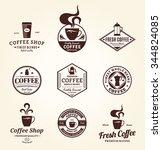 set of vector coffee shop logo. ... | Shutterstock .eps vector #344824085