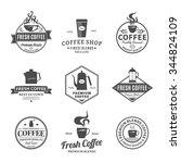 set of vector coffee shop logo. ... | Shutterstock .eps vector #344824109