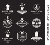 set of vector coffee shop logo. ... | Shutterstock .eps vector #344824121