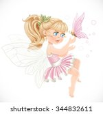 sweet girl fairy in a pink tutu ... | Shutterstock .eps vector #344832611