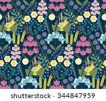 seamless floral pattern.... | Shutterstock .eps vector #344847959