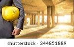 torso engineer or worker hand... | Shutterstock . vector #344851889