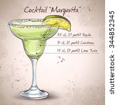 classic margarita cocktail with ... | Shutterstock .eps vector #344852345