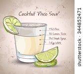 peruvian cocktail named pisco... | Shutterstock .eps vector #344852471
