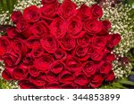 Stock photo natural red roses background border of red roses bouquet 344853899