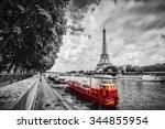 eiffel tower over seine river... | Shutterstock . vector #344855954