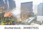 double exposure of businessman... | Shutterstock . vector #344857031