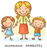 happy cartoon mother with two... | Shutterstock .eps vector #344862551