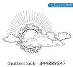 sun with clouds doodle  hand... | Shutterstock .eps vector #344889347