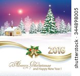 2016 christmas card with a... | Shutterstock .eps vector #344898005