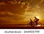 sporty couple friends on... | Shutterstock . vector #344905799