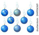 blue christmas balls. vector | Shutterstock .eps vector #344906369