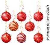 red christmas balls. vector | Shutterstock .eps vector #344906375