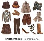 women brown clothes set. | Shutterstock . vector #34491271