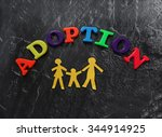 paper cutout family with... | Shutterstock . vector #344914925