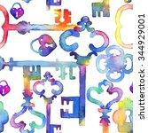 watercolor vintage keys pattern....   Shutterstock . vector #344929001