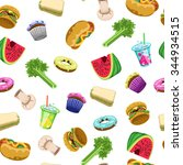 seamless food pattern with... | Shutterstock .eps vector #344934515