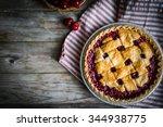 Homemade Cherry Pie On Rustic...