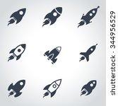 vector black rocket icon set. | Shutterstock .eps vector #344956529