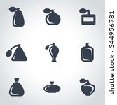 vector black perfume icon set | Shutterstock .eps vector #344956781