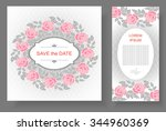 set of backgrounds with  flower ... | Shutterstock .eps vector #344960369