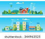 two horizontal banners. private ... | Shutterstock .eps vector #344963525