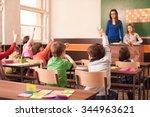 children in elementary school... | Shutterstock . vector #344963621