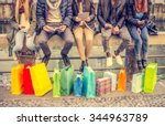 group of friends sitting... | Shutterstock . vector #344963789