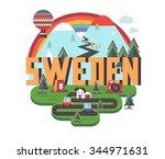 sweden in europe is a beautiful ... | Shutterstock .eps vector #344971631