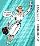 super hero nurse flies to the... | Shutterstock .eps vector #344979095