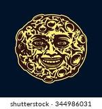 cartoon smiling full moon face... | Shutterstock .eps vector #344986031