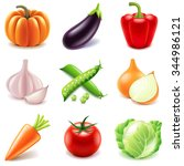 vegetables icons detailed photo ... | Shutterstock .eps vector #344986121