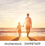 father and son walking together ... | Shutterstock . vector #344987609