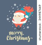 vector illustration cute santa... | Shutterstock .eps vector #344987669