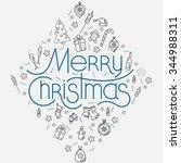 christmas decorative... | Shutterstock .eps vector #344988311