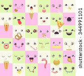 set of cute colorful  vector... | Shutterstock .eps vector #344991101
