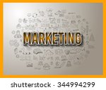 marketing concept with doodle...   Shutterstock .eps vector #344994299
