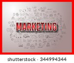 marketing concept with doodle... | Shutterstock .eps vector #344994344