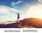 happy young woman hiker with... | Shutterstock . vector #344994551