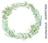 wedding invitation. wreath.... | Shutterstock . vector #344997404