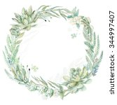 wedding invitation. wreath.... | Shutterstock . vector #344997407